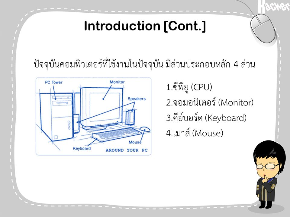 Introduction [Cont.] ปัจจุบันคอมพิวเตอร์ที่ใช้งานในปัจจุบัน มีส่วนประกอบหลัก 4 ส่วน. 1.ซีพียู (CPU)